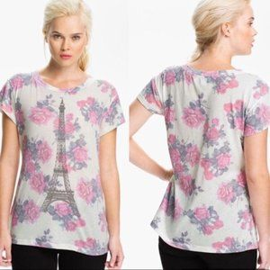 Wildfox Eiffel Tower Rose Floral Print Tee Top